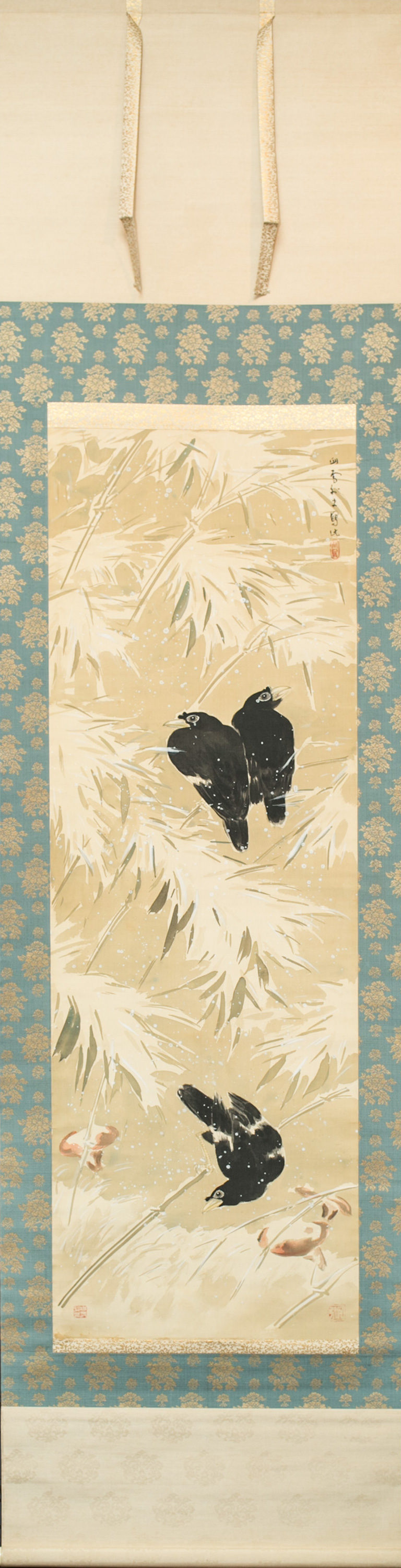 Japanese Scroll: Crows in Snowy Landscape