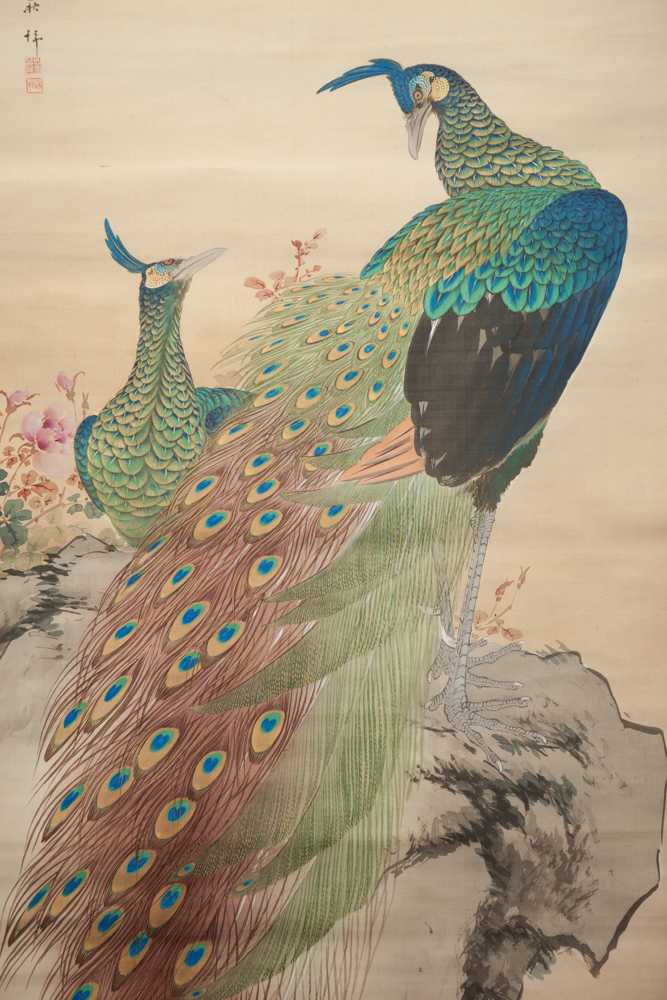 Antique Japanese Scroll: Pair of Peacocks