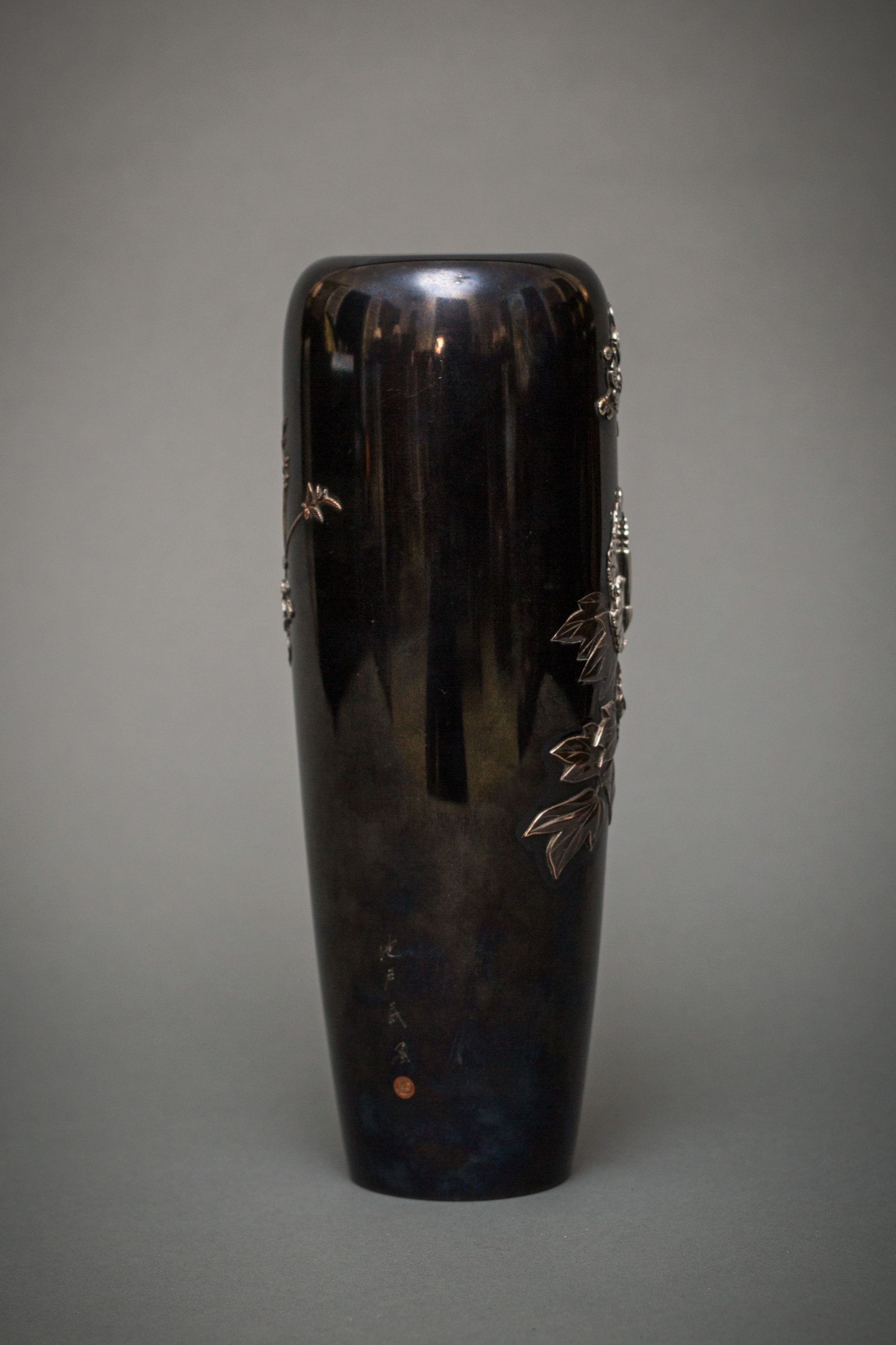Japanese Shakudo Vase With Peonies