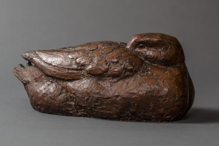 Japanese Showa Period Dry Lacquer Sculpture of a Duck