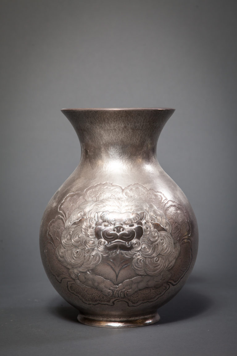 Japanese Silver Flower Vase with Design of Peony and Head of Shishi