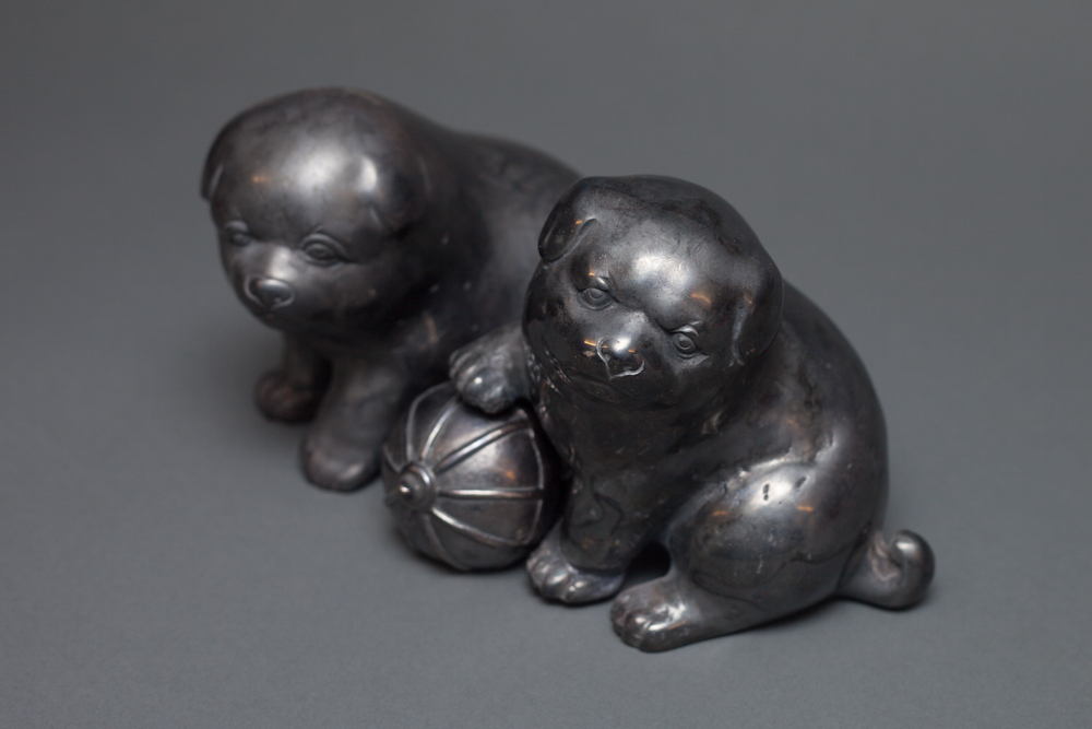 Japanese Silver Plated Brass Puppies with Ball
