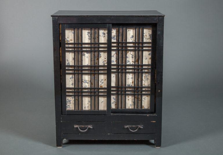 Japanese Small Cabinet with Shoji Sliding Doors