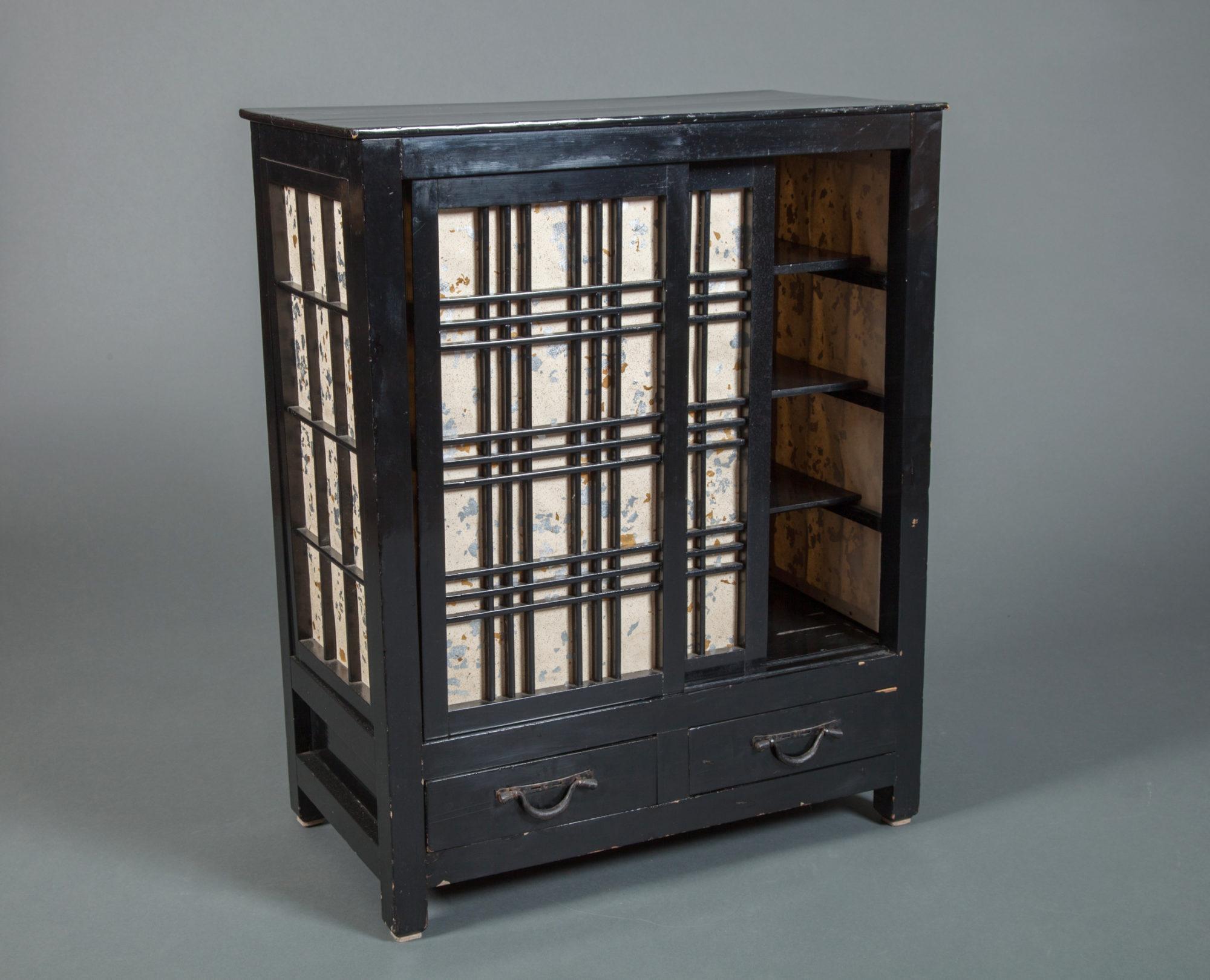 Small Japanese Cabinet with Shoji Sliding Doors