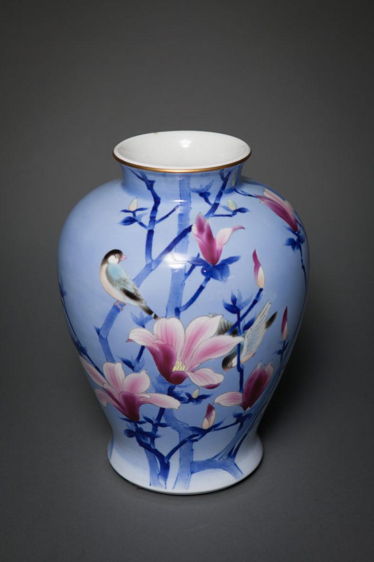Japanese Studio Art, Porcelain Vase with Lovely Magnolia and Finch on Blue