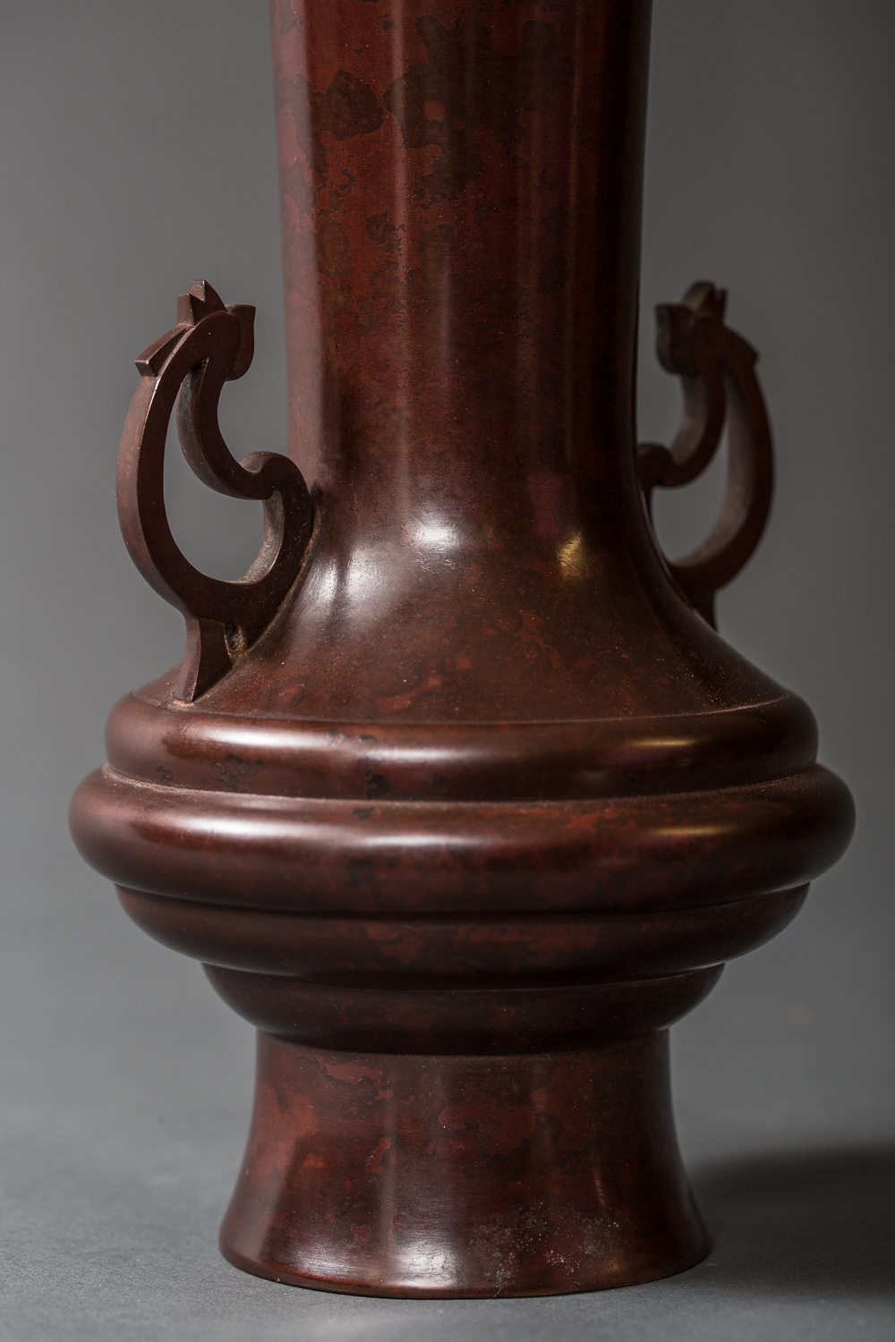 Japanese Taisho Bronze Vase with Rooster Handles