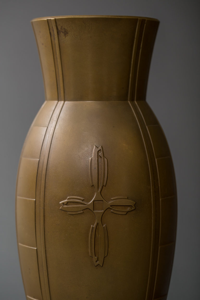 Japanese Taisho Period Bronze Vase with Gold Patina and Deco Inspired Design