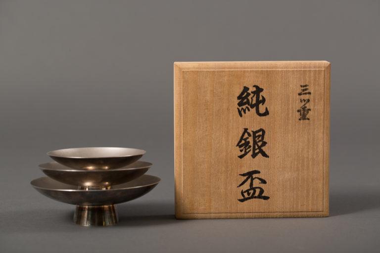 Japanese Three Piece Silver Sake Cups