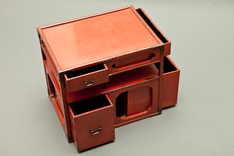 Japanese Vermillion Small Lacquer Storage Box