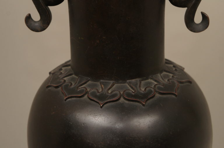 Large Bronze Japanese Lamp