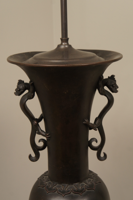 Large Bronze Japanese Lamp
