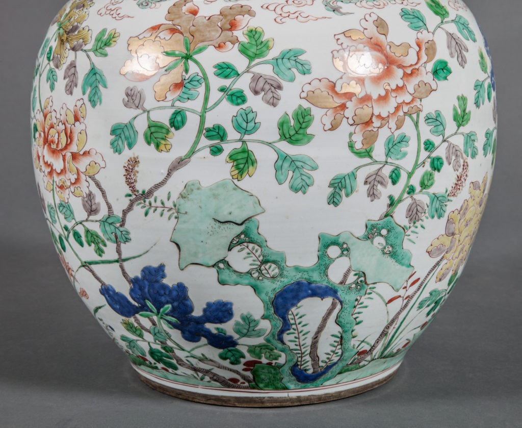 Large Chinese Famille Rose Gourd-Shape Vase with Garden Design