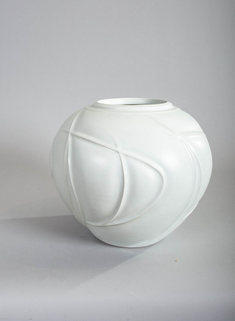 Large Japanese Porcelain Studio Vase With Organic Abstract Design
