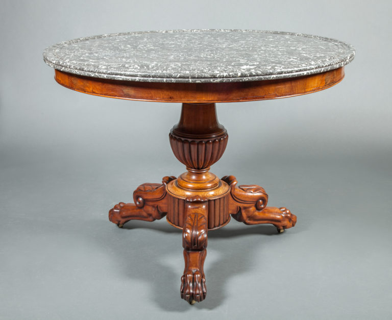 Louis Philippe Center Hall Table with  Marble Top