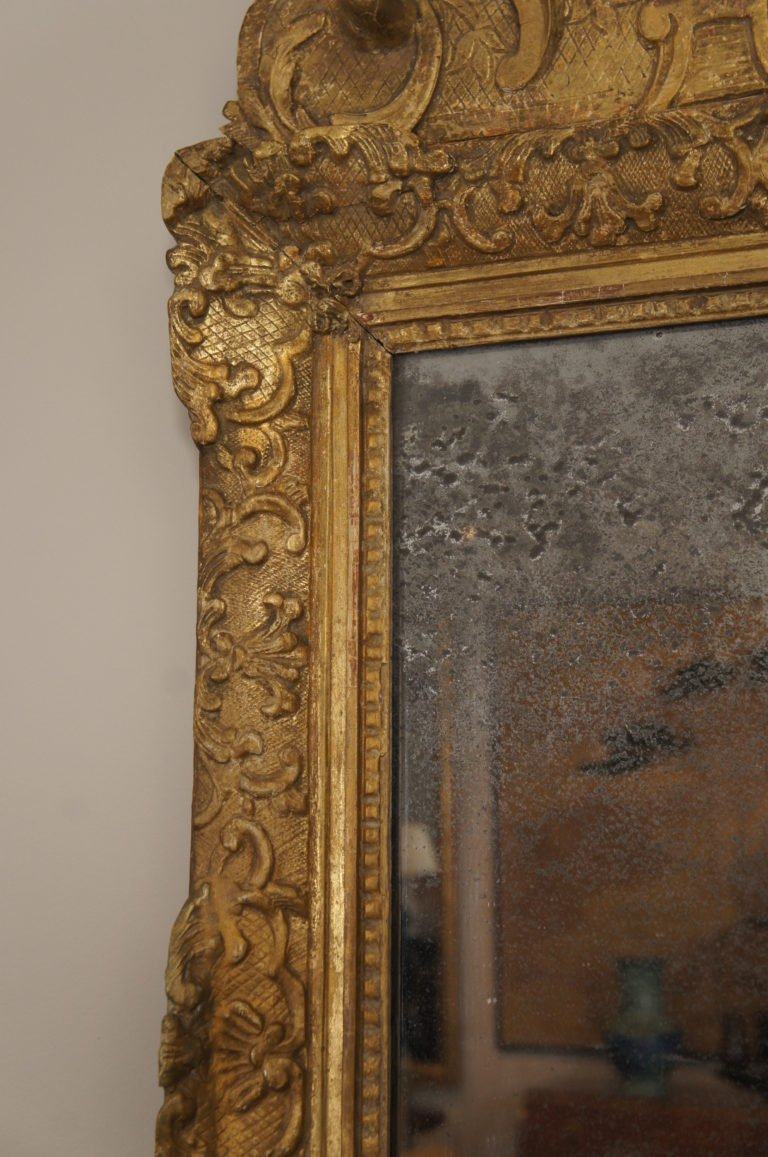 Louis XlV, French 17th Century  Giltwood mirror.