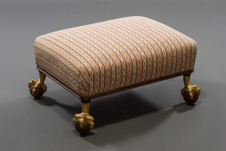 Mahogany and Parcel-Gilt Footstool