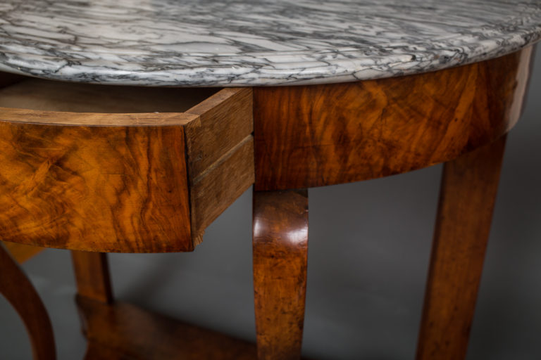 Marble Top Demi Lune Table