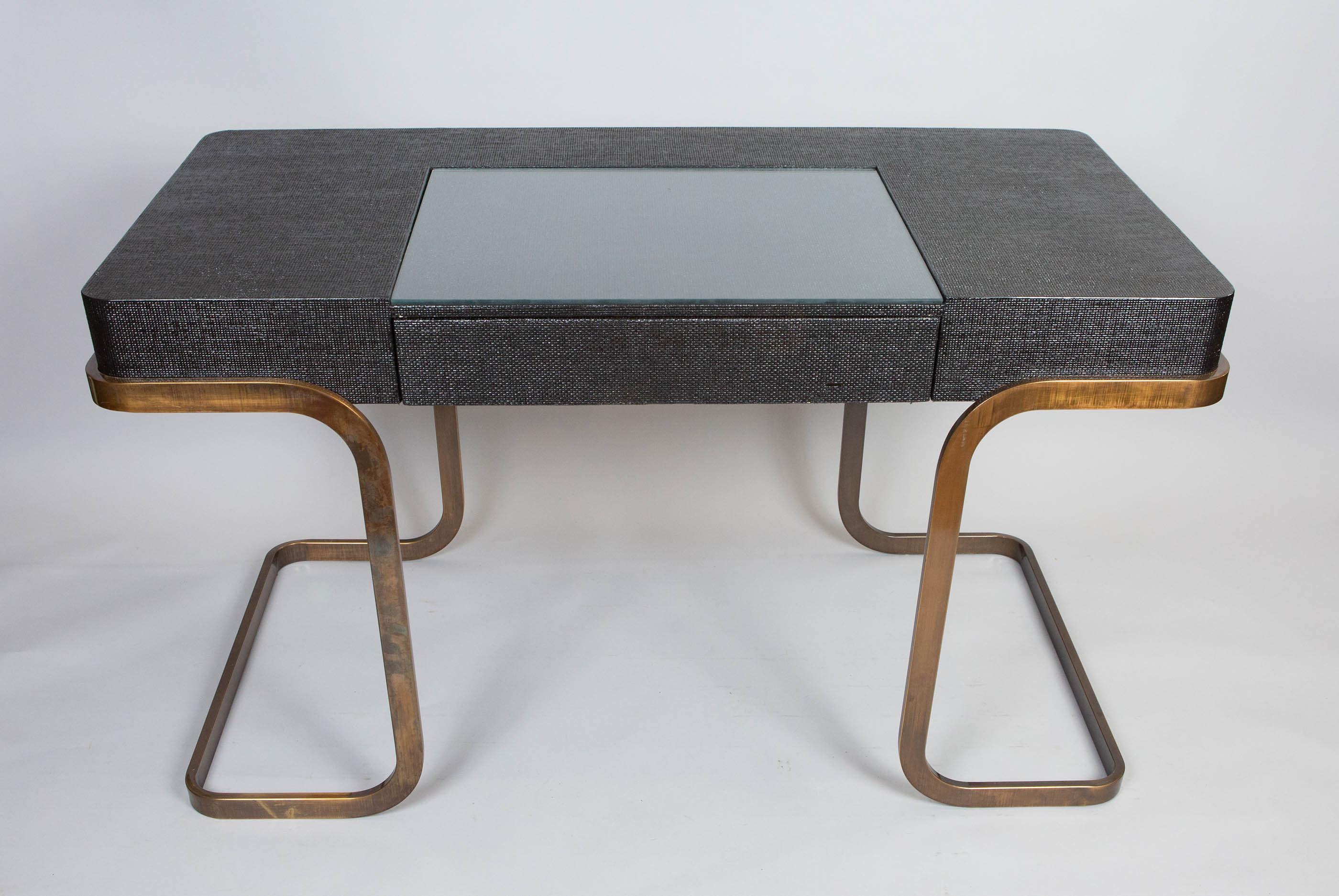 Milo Baughman Chrome and Lacquered Raffia Desk
