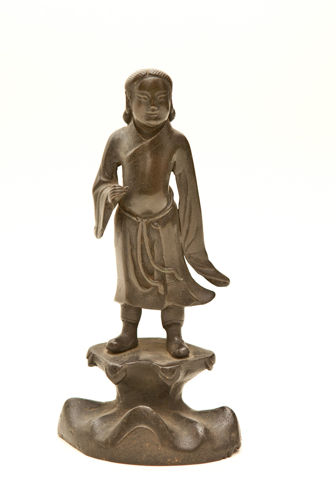 Ming Bronze Sculpture of Confucius as a Young Man