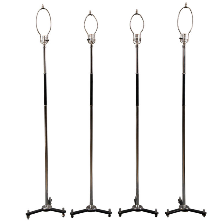 Modern Chrome and Ebonized Tripod Floor Lamp