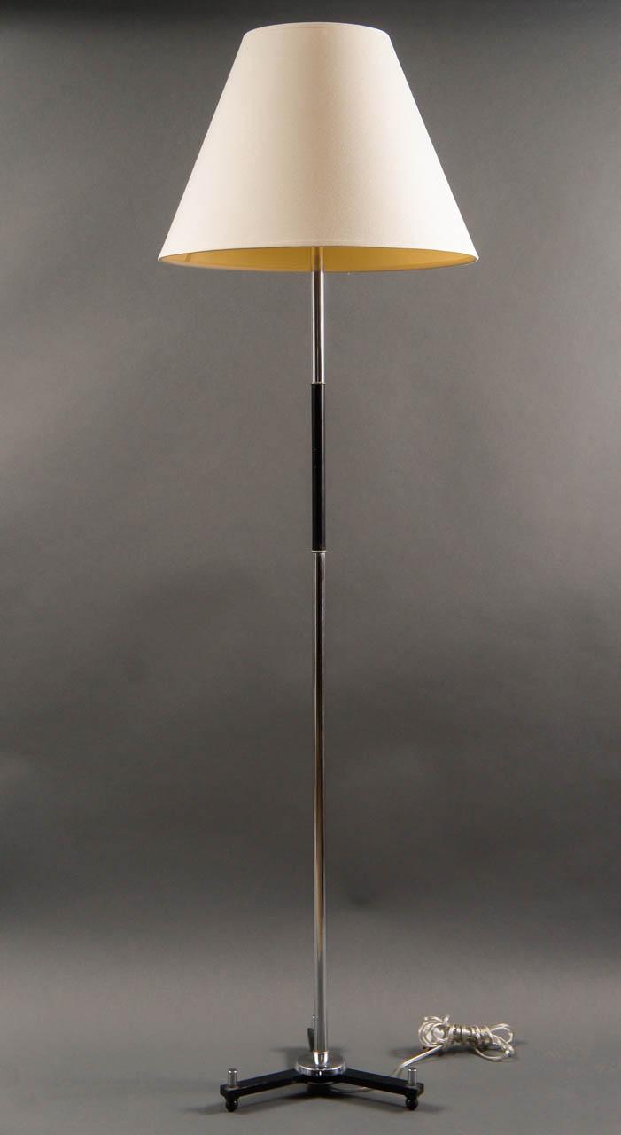 Modern Chrome and Ebonized Tripod Floor Lamp