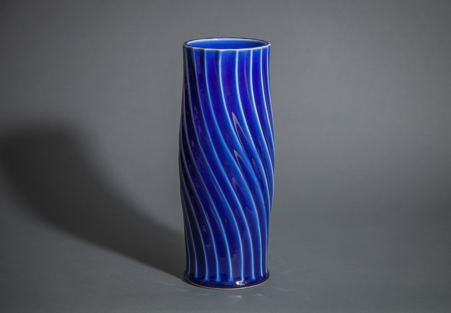 Modern Japanese Cobalt Blue Glass Ribbed Flower Vase