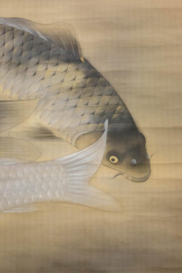 Modern Japanese Exhibition Hall Size Carp Scroll