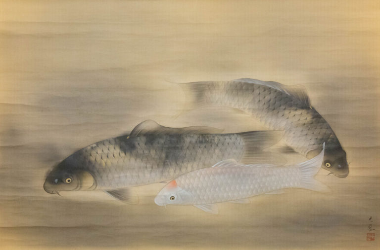 Modern Japanese Exhibition Hall Size Carp Scroll