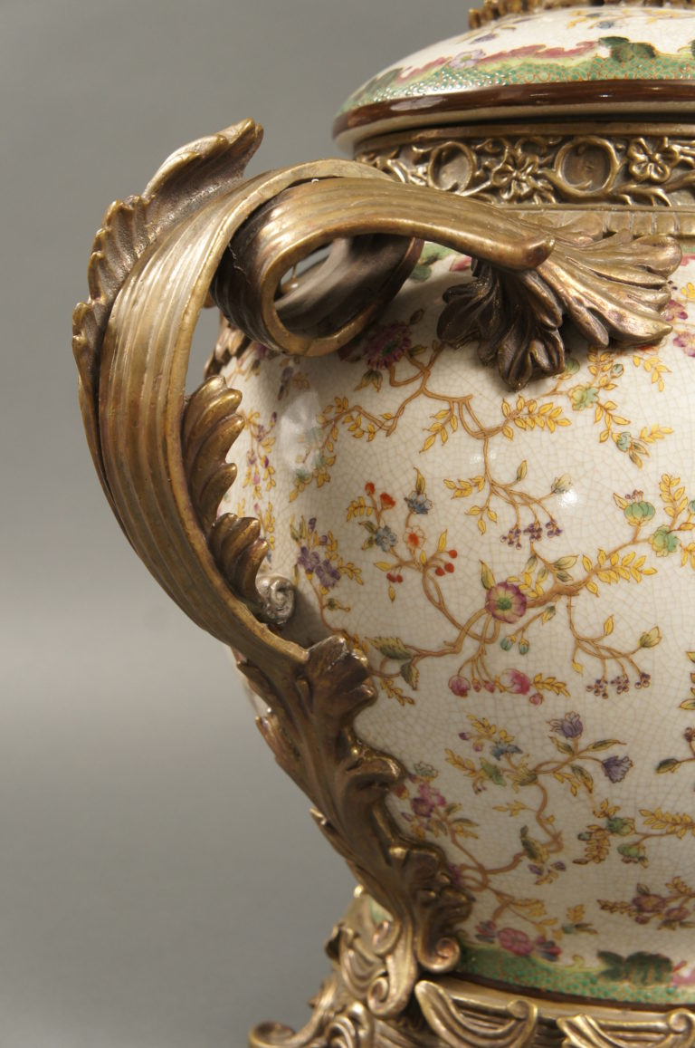 Pair of  French 19th Century Ormolu Mounted Sèrvers Style Porclain Vases.