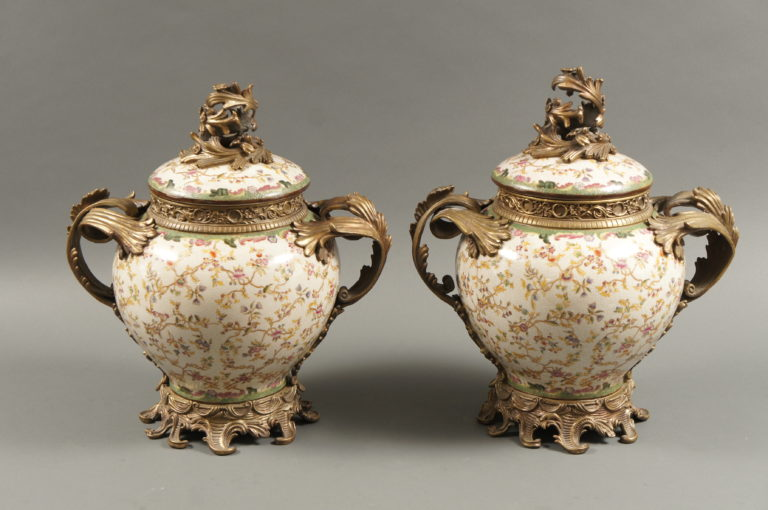 Pair of  French 19th Century Ormolu Mounted Sèrvers Style Porclain Vases