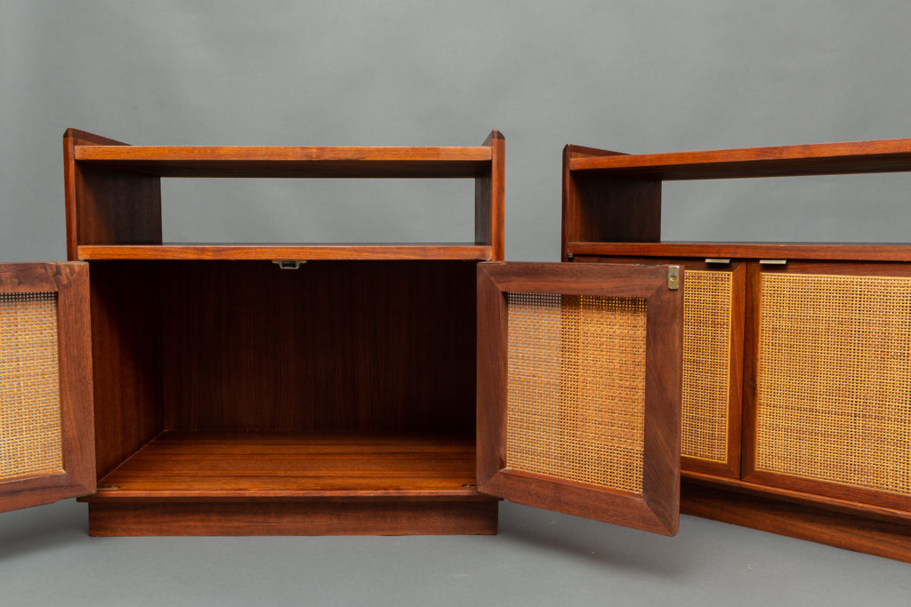 Pair of American Bedside Cabinets with Wicker Fronts