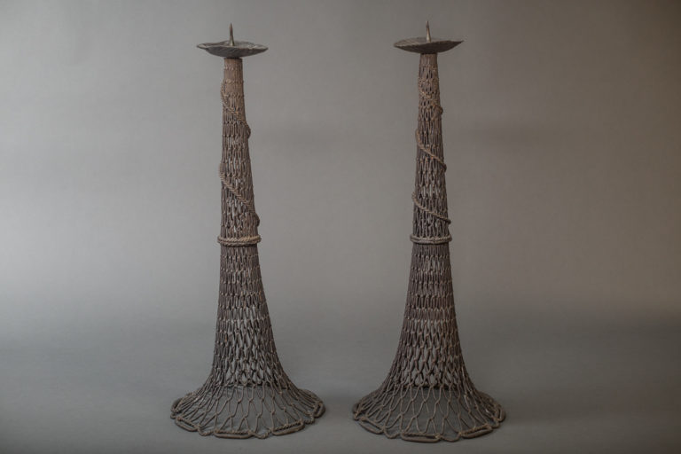 Pair of Antique Bronze Fishnet Candlesticks