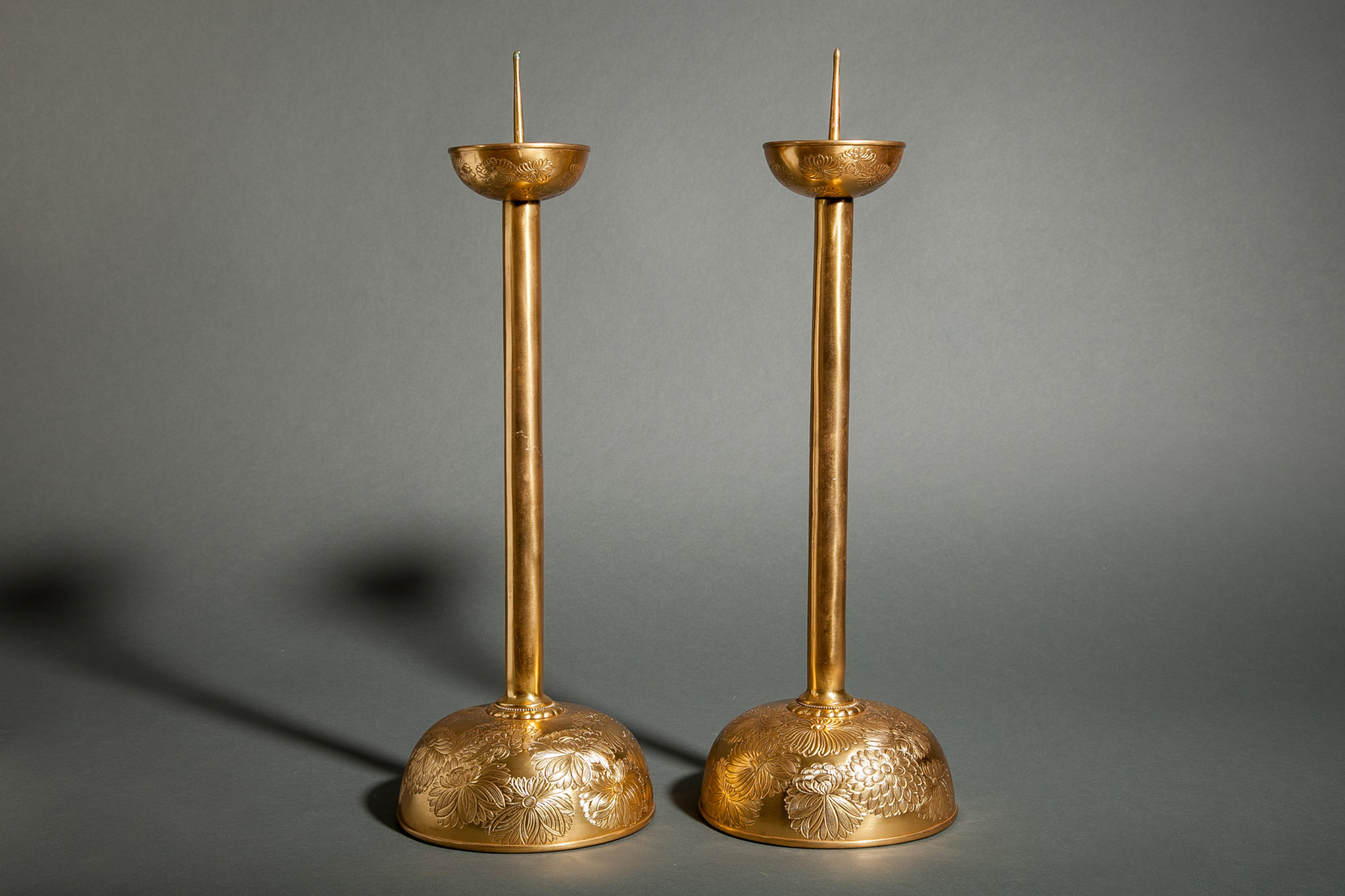 Pair of Antique Gilded Bronze Candlesticks