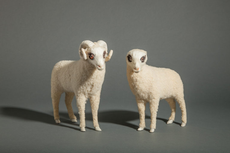 Pair of Antique Japanese Ceramic Sheep