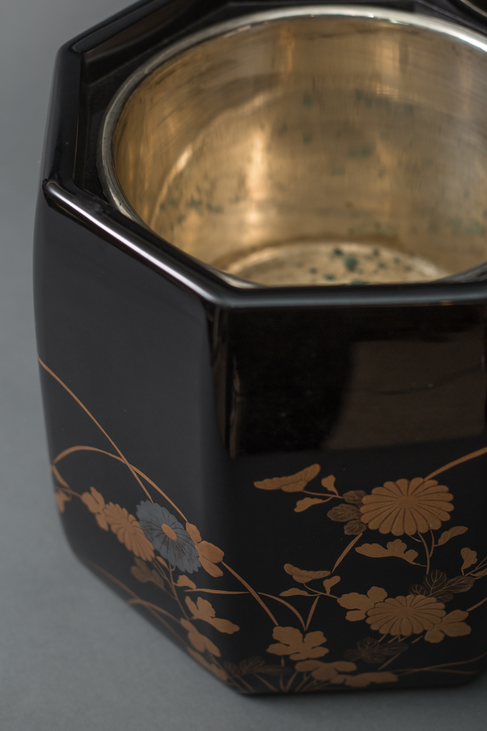 Pair of Antique Japanese Lacquer Hibachi with Silvered Linings