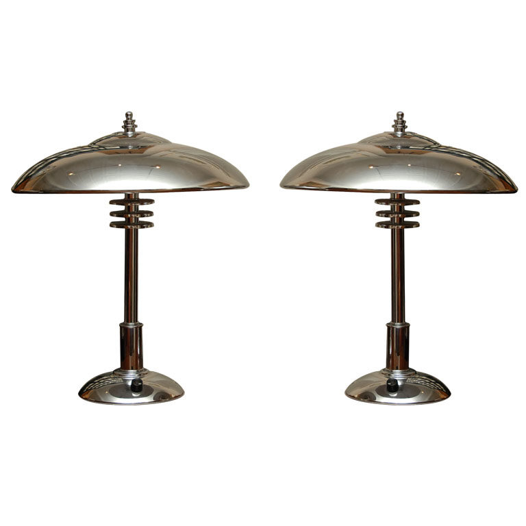 Pair of Art Deco Chrome Desk Lamps