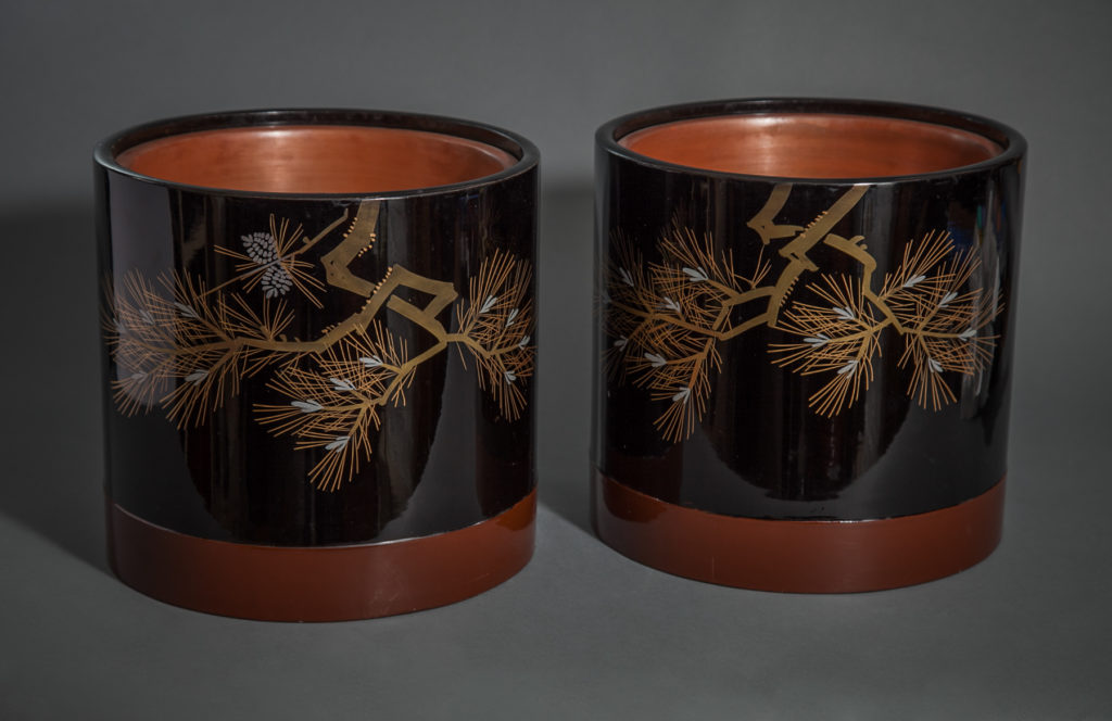 Pair of Black Lacquer Hibachi with Copper Liners