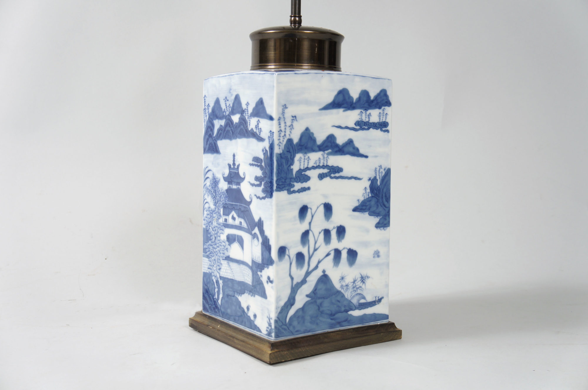Pair of Blue and White Ceramic Chinese Lamps