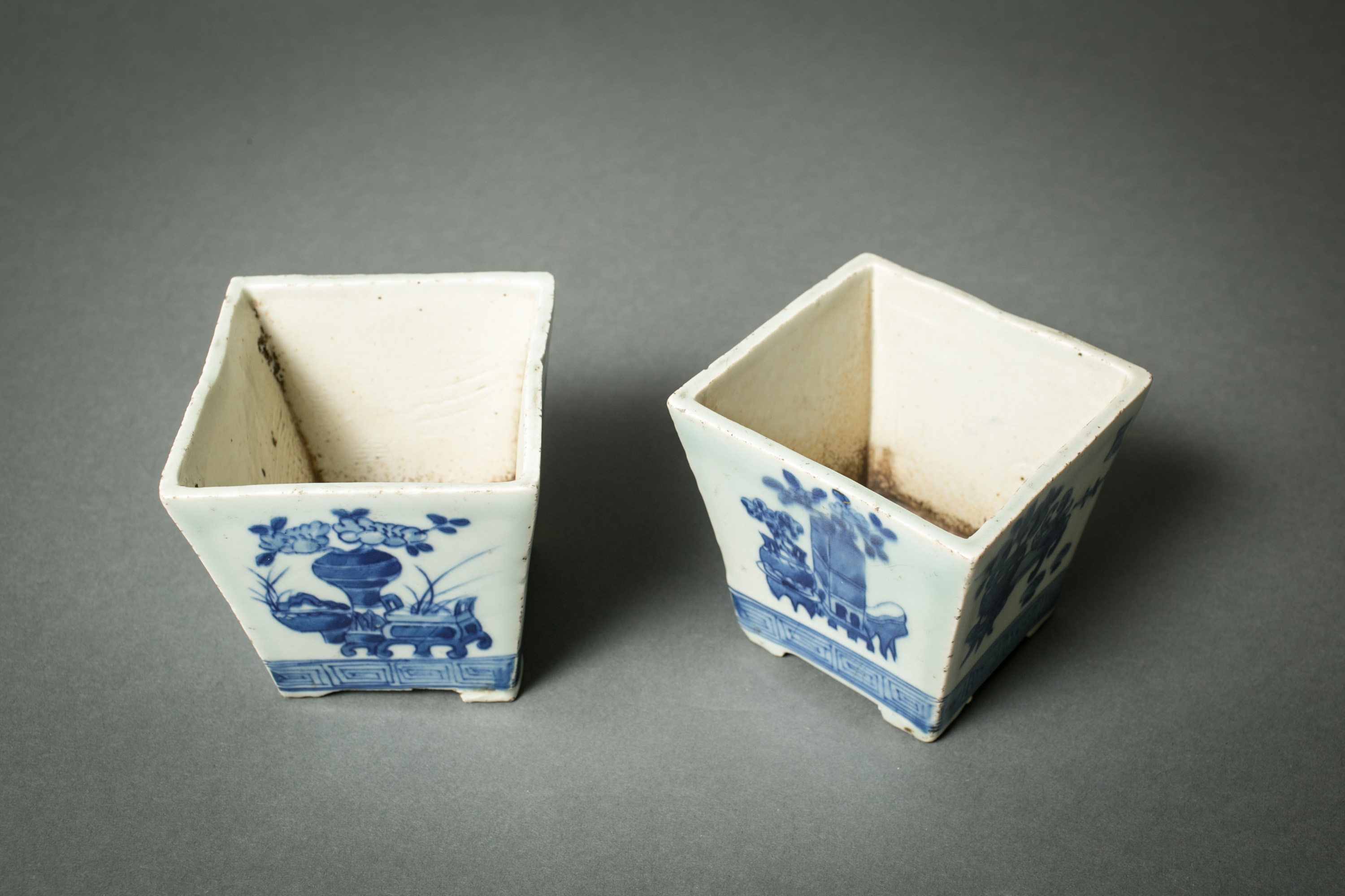 Pair of Chinese Blue and White Cache Pots
