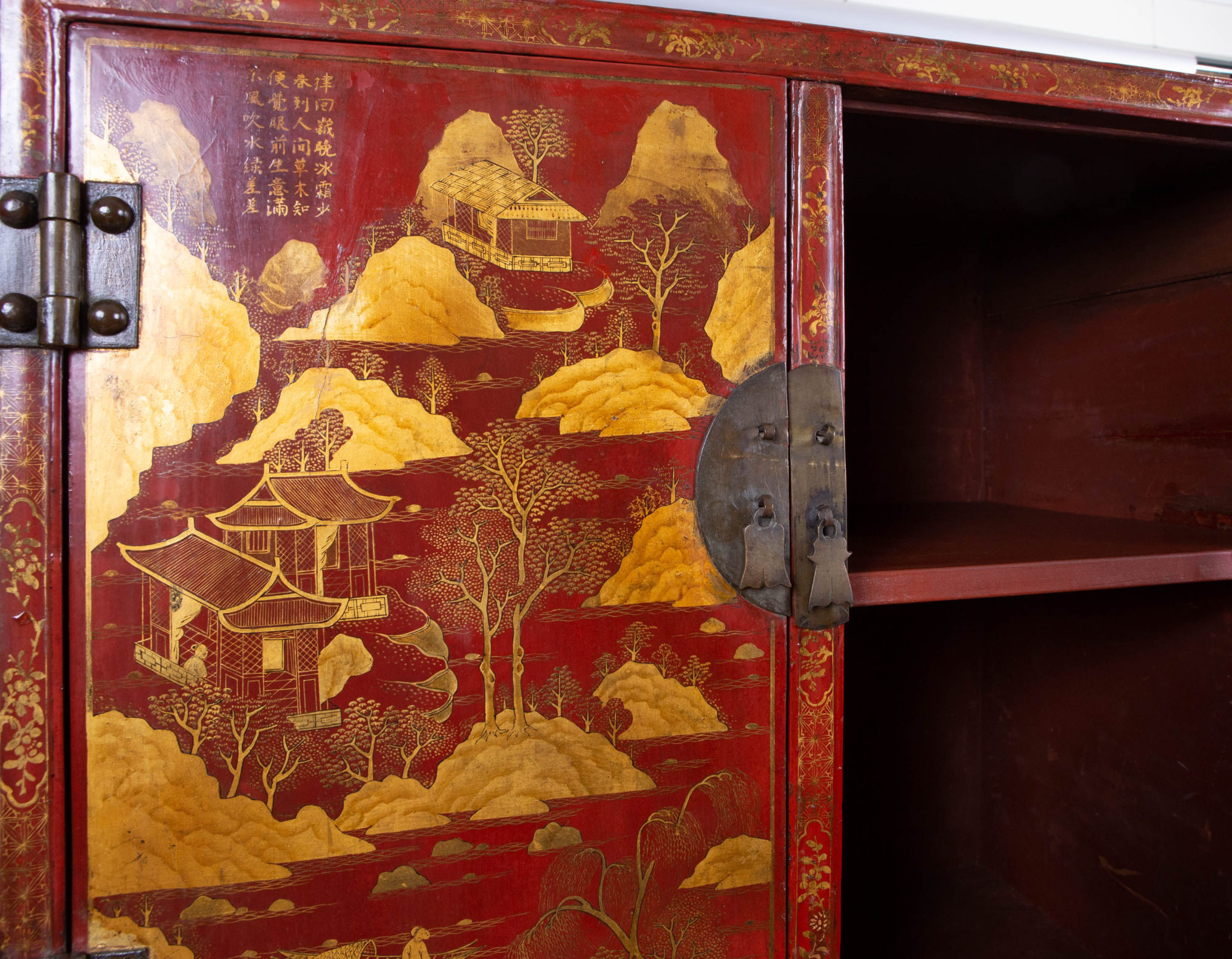 Pair of Chinese Export Bronze-Mounted Red Lacquer and Parcel-Gilt Cabinets