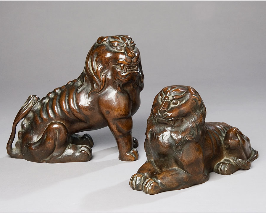 Pair of Japanese Hand Carved Lions