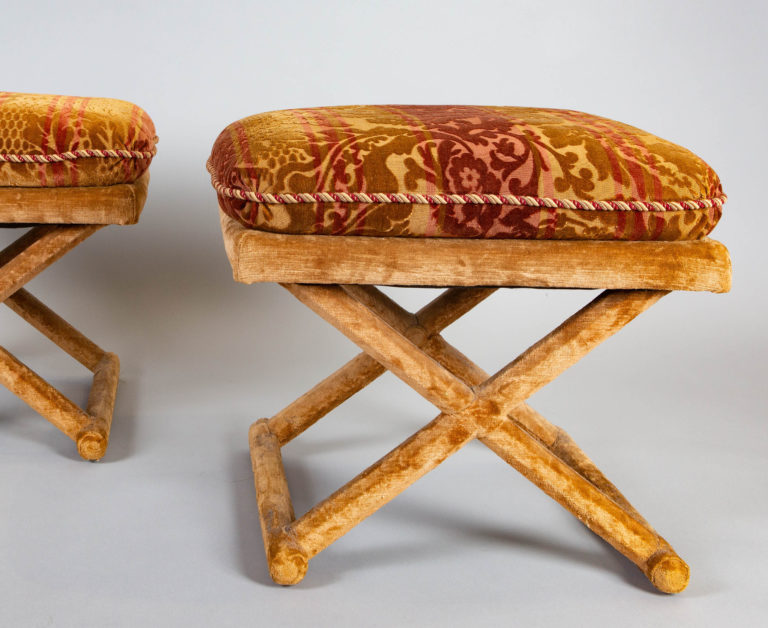 Pair of Cut Velvet and Velvet Upholstered X-Form Stools