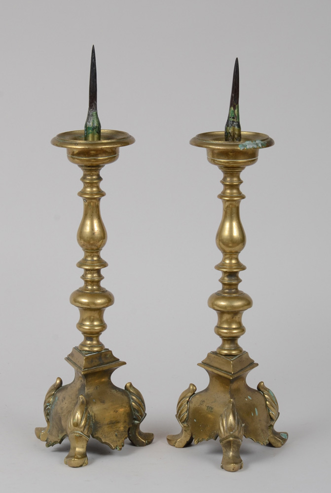 Pair of Flemish Baroque Brass Candlesticks