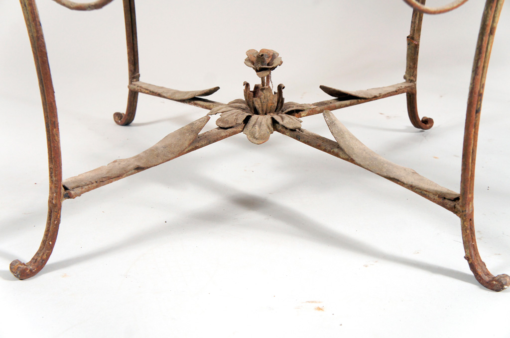Pair of French Iron Tables with Marble Tops