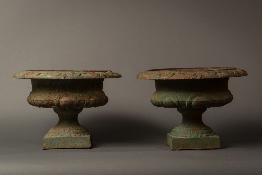 Pair of Iron Urns