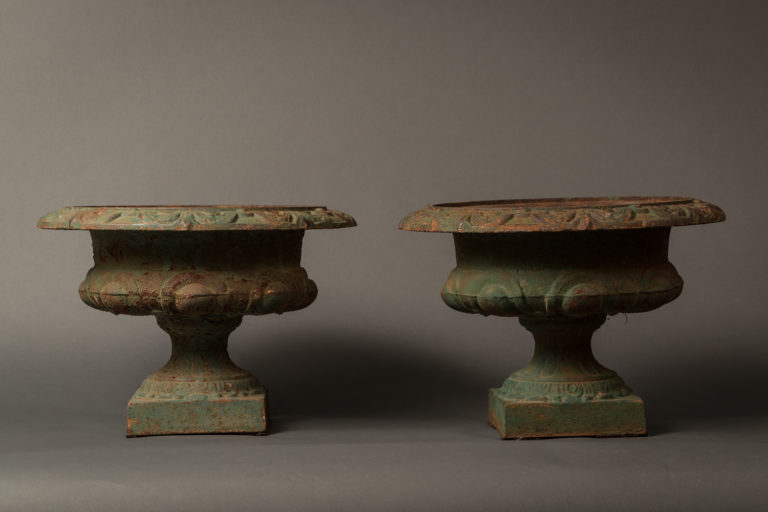 Pair of Iron Urns