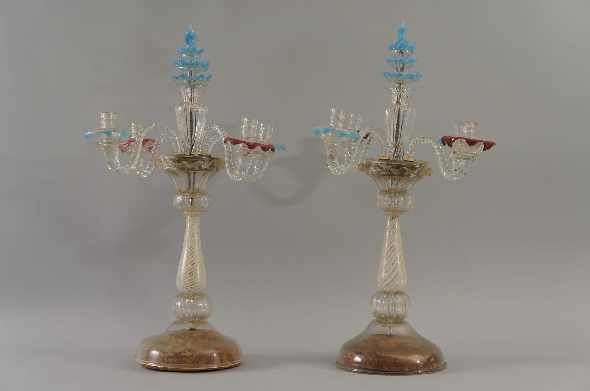 Pair of Italian Venetian Glass Candelabra