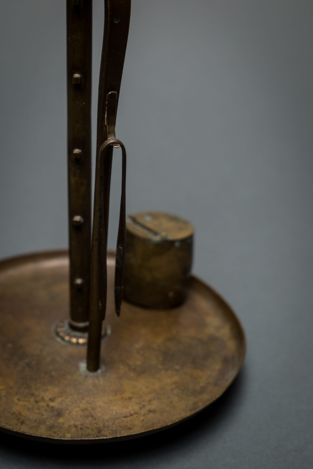 Pair of Japanese Bronze Adjustable Candle Holders and Two Trim Bowls