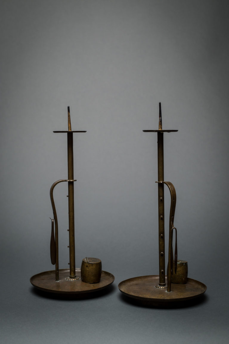 Pair of Japanese 19th Century Bronze Adjustable Candle Holders and Two Trim Bowls