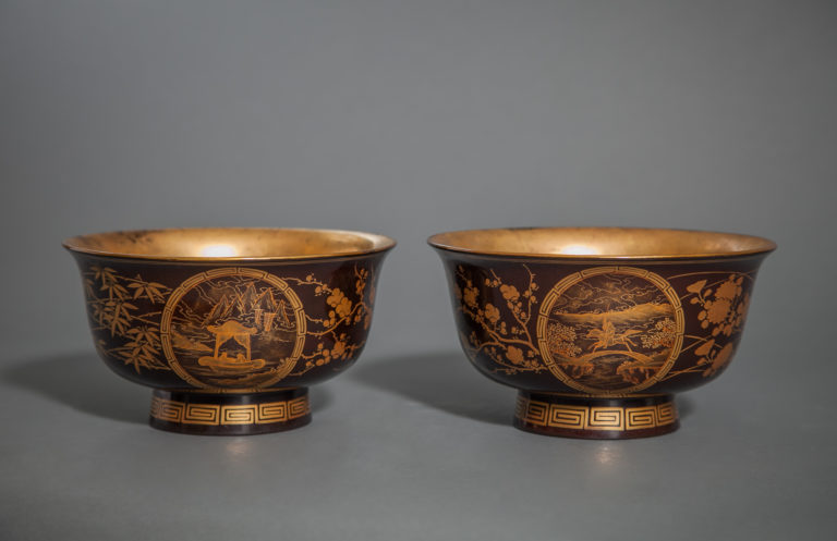 Pair of Japanese Antique Lacquer Bowls with Makie Landscapes